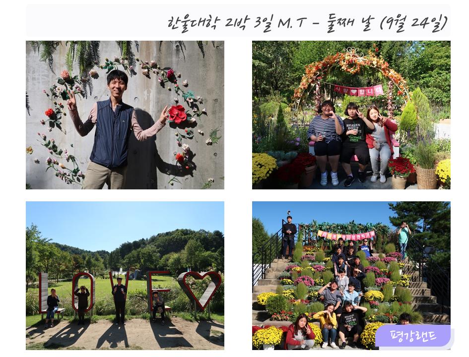 한울대학 2박3일 M.T - 둘째날 (9월24일)왼쪽상단: 꽃 벽 앞에서 찍은 이용자 사진1오른쪽상단: 이용자 세명의 기념 사진왼쪽하단: 이용자들 단체 사진1오른쪽하단: 이용자들 단체 사진2 (평강랜드)